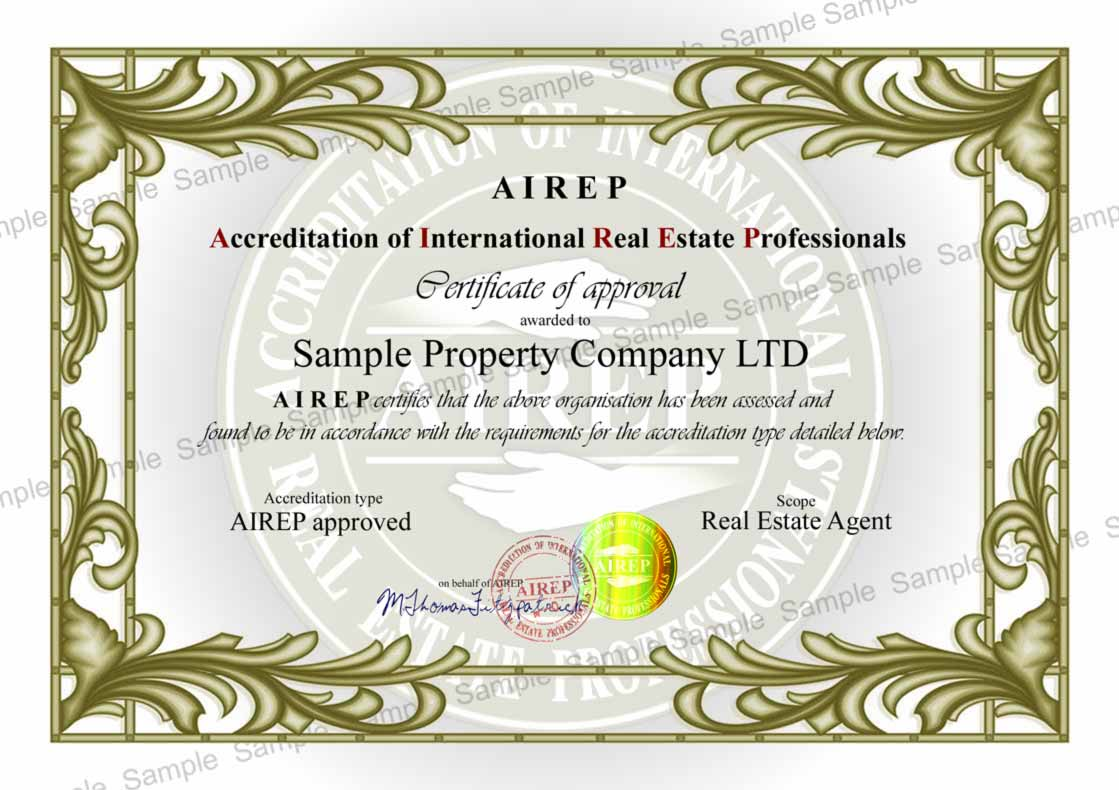 Example certificate airep accreditation of international real example certificate airep accreditation of international real estate agents yelopaper Images